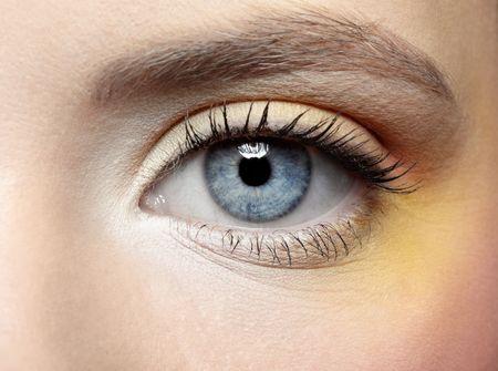 close-up of girls eye zone make-up Stock Photo