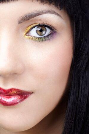 half face portrait of beautiful brunette girl Stock Photo - 6229578