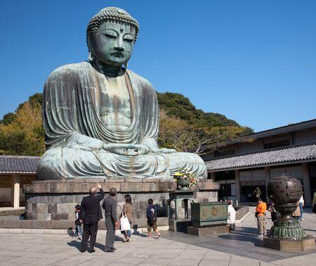 kamakura: Daibutsu - famous Great Buddha bronze statue in Kamakura, Kotokuin Temple.  The second largest bronze Buddha statue in Japan