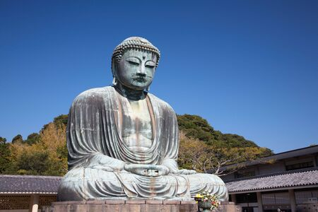 Daibutsu - famous Great Buddha bronze statue in Kamakura, Kotokuin Temple.  The second largest bronze Buddha statue in Japan  photo