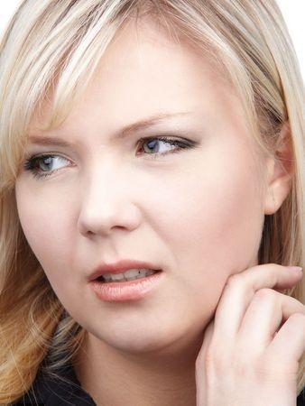 slavonic: portrait of beautiful slavonic blonde girl looking worried Stock Photo