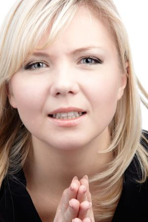 imploring: portrait of beautiful imploring blonde girl Stock Photo