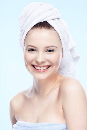 beautiful healthy serene girl on blue Stock Photo - 6375844