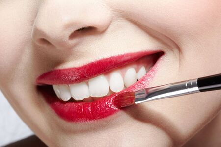 close up of girl's lips zone makeup Stock Photo - 6443333