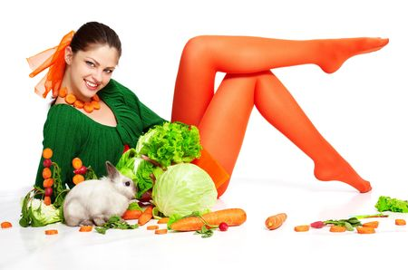 green cabbage: Happy girl with her lovely pet - pygmy rabbit Stock Photo