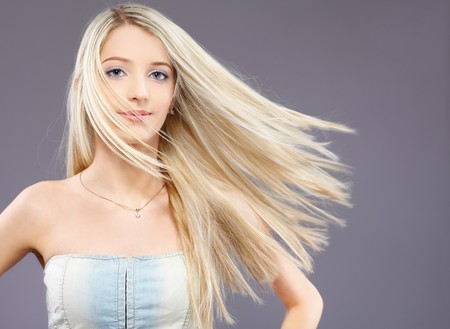 slavonic: portrait of beautiful slavonic blonde girl with fluttering hair Stock Photo