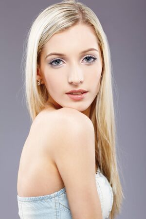 portrait of beautiful slavonic blonde girl posing
