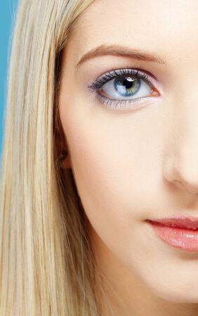 slavonic: half-face portrait of beautiful slavonic blonde girl posing Stock Photo