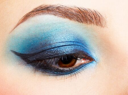 brow: close-up portrait of girls eye zone make-up