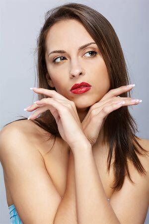 close up portrait of brunette girl posing photo