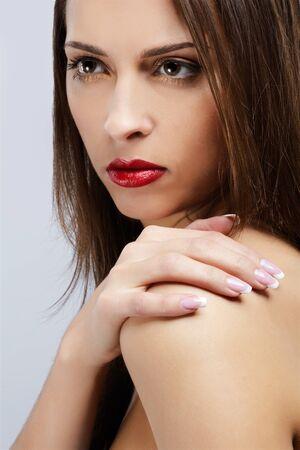 portrait of brunette girl posing photo