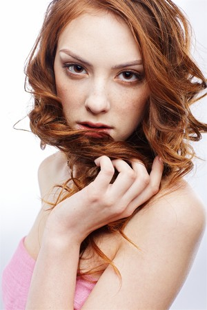 portrait of freckled dark red-haired girl photo