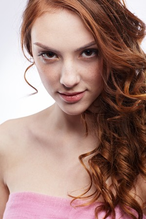 freckled: portrait of freckled dark red-haired girl Stock Photo