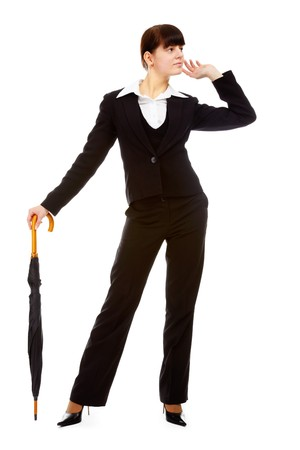 slavonic: portrait of pretty slavonic girl in black suit standing with umbrella like with cane Stock Photo
