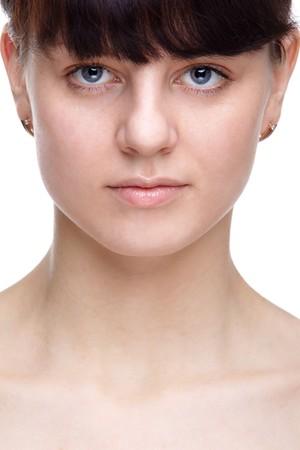 slavonic: ckose-up portrait of pretty slavonic dark haired girl Stock Photo