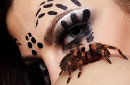 portrait of girl with spider bodyart of face  posing with real spider Brachypelma smithi on her shoulder Stock Photo - 7432883