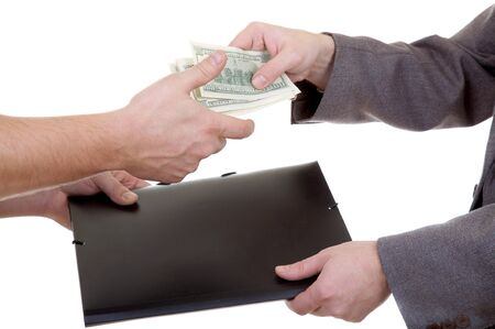 give money: Mans hand with dollars and folder isolated at the white background