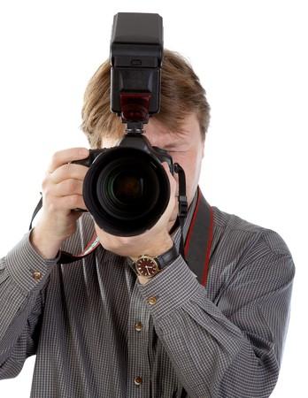 Photographer wit DSLR camera on white background photo