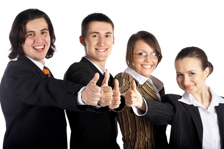 buena suerte: equipo de negocios de cuatro hombres y mujeres
