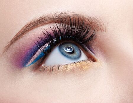 close-up portrait of girls eyezone make up photo