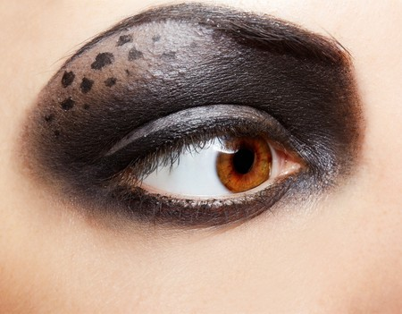 close-up portrait of girls eye-zone bodyart photo