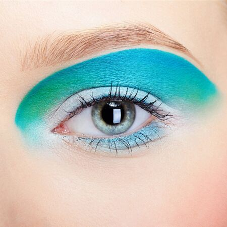 close-up portrait of girls eye-zone make up photo