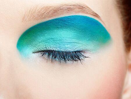 close-up portrait of girls eye-zone make up photo