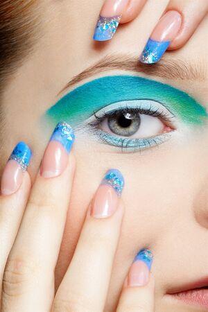 close-up portrait of girls eye-zone make up