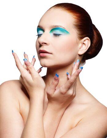portrait of beautiful european redhead girl on white photo