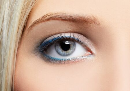 close-up portrait of beautiful girls eye-zone make-up photo