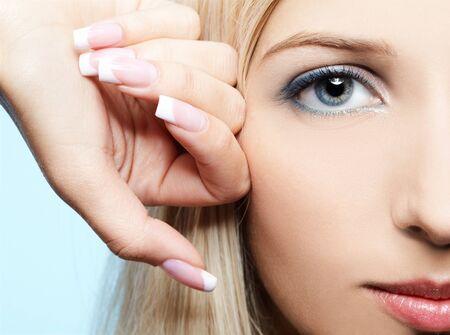 close-up portrait of beautiful girls eye-zone make-up photo