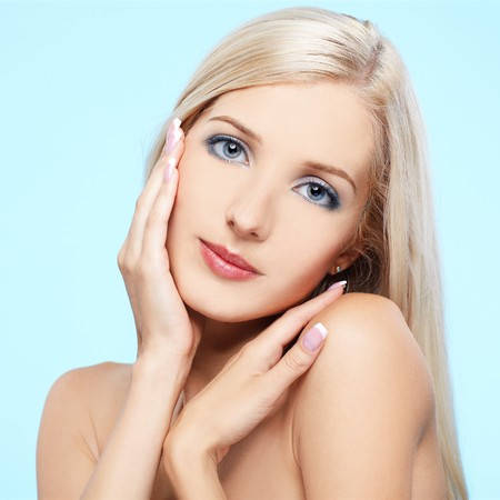 portrait of beautiful blonde girl with healthy skin photo