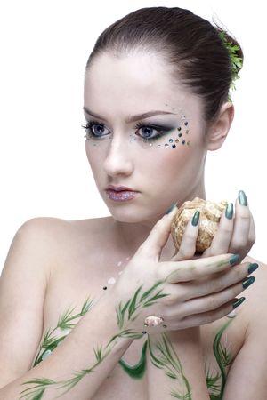 portrait of beautiful girl with mermaid bodyart Stock Photo - 8038206