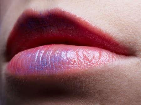 close up portrait of european girls lips photo