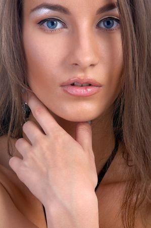 beautiful blue eyed caucasian model on white Stock Photo - 8082466