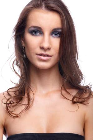 flatter: beatiful model with flattering hair in black top