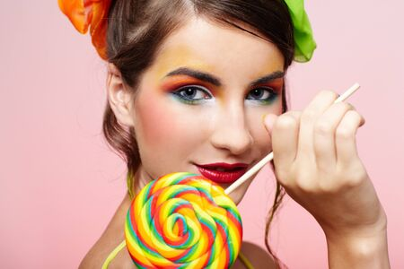 portrait of beautiful girl with big lollipop Stock Photo - 8147475