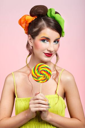 portrait of beautiful girl with big lollipop Stock Photo - 8147468