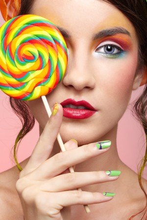 portrait of beautiful girl with big lollipop Stock Photo - 8147473