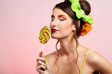 portrait of beautiful girl with big lollipop Stock Photo - 8147463