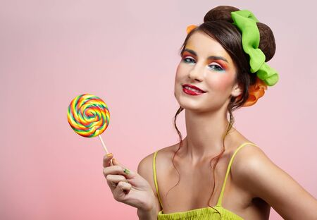 portrait of beautiful girl with big lollipop Stock Photo - 8147448