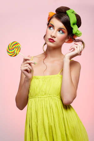 portrait of beautiful girl with big lollipop Stock Photo - 8147466
