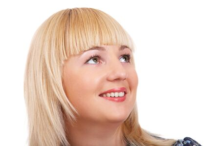 Portrait of blonde girl on the white background photo