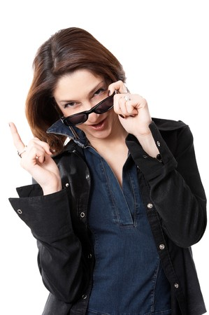Woman with sun glasses isolated on the white background photo