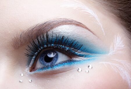 woman eye zone make-up in blue and white tone Stock Photo - 8306824