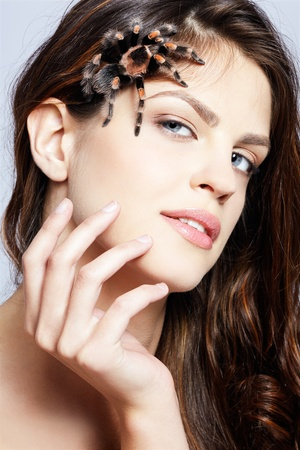close-up portrait of girl with brachypelma smithi spider creeping over her face photo