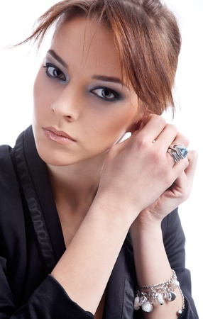 close-up portrait of beautiful dark haired model photo