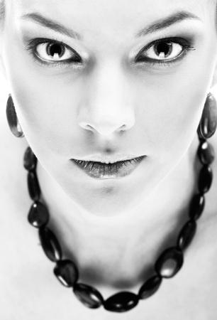 close-up portrait of sensitive big eyed model photo