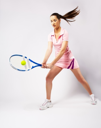 portrait of sporty girl tennis player with racket Stock Photo