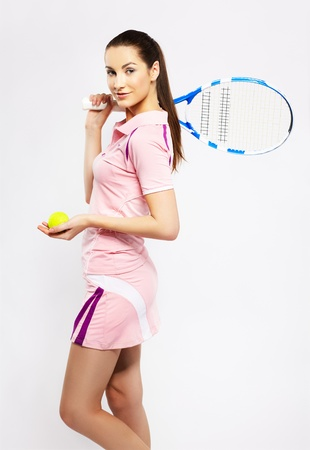 falda: Retrato de niña deportivo tenista con raqueta